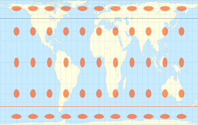 Gall-Peters cylindrical equal-area projection - Tissots indicatrix