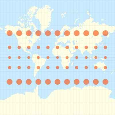 Mercator conformal projection - Tissots indicatrix