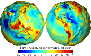 Earth's Gravity Field Anomalies (milligals)- Geoid