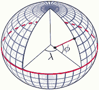 lat long graticule on spheroid