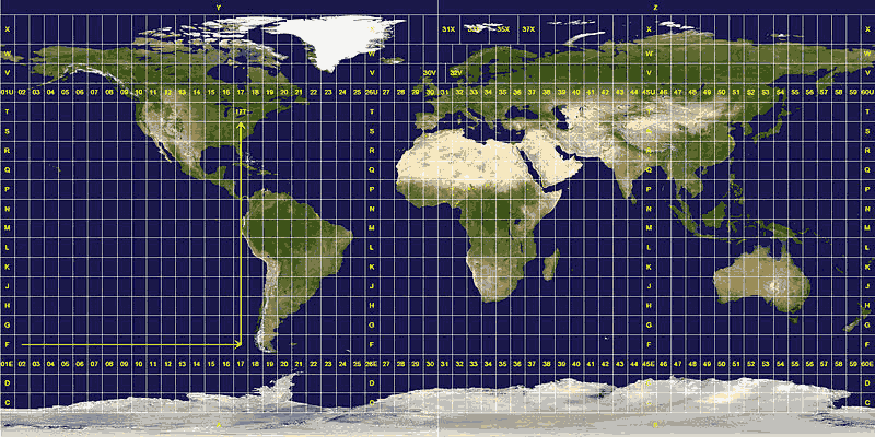 UTM zones world map