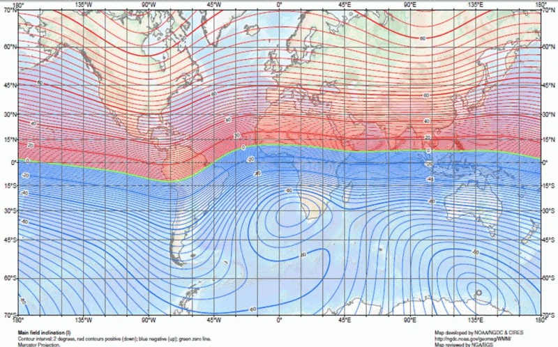 world magnetic inclination map