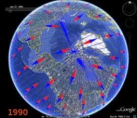 earth magnetic field lines and north magnetic pole 1990