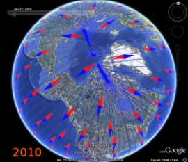 earth magnetic field lines and north magnetic pole 2010