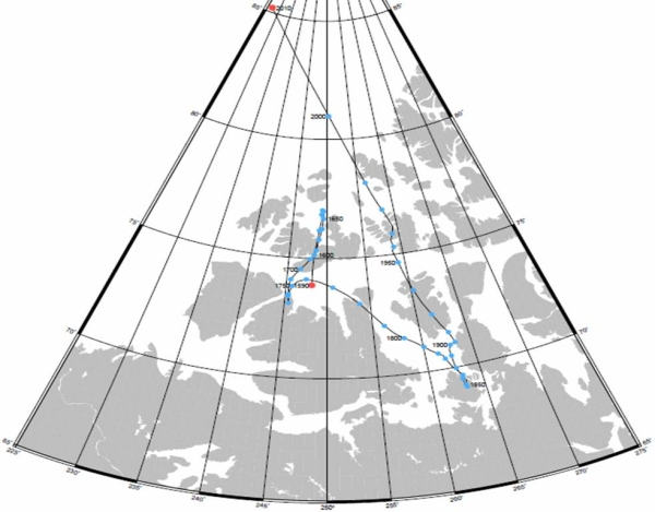 north magnetic pole movement map 1590 − 2010